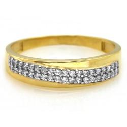 Złoty pierścionek z cyrkoniami obrączkowy wzór