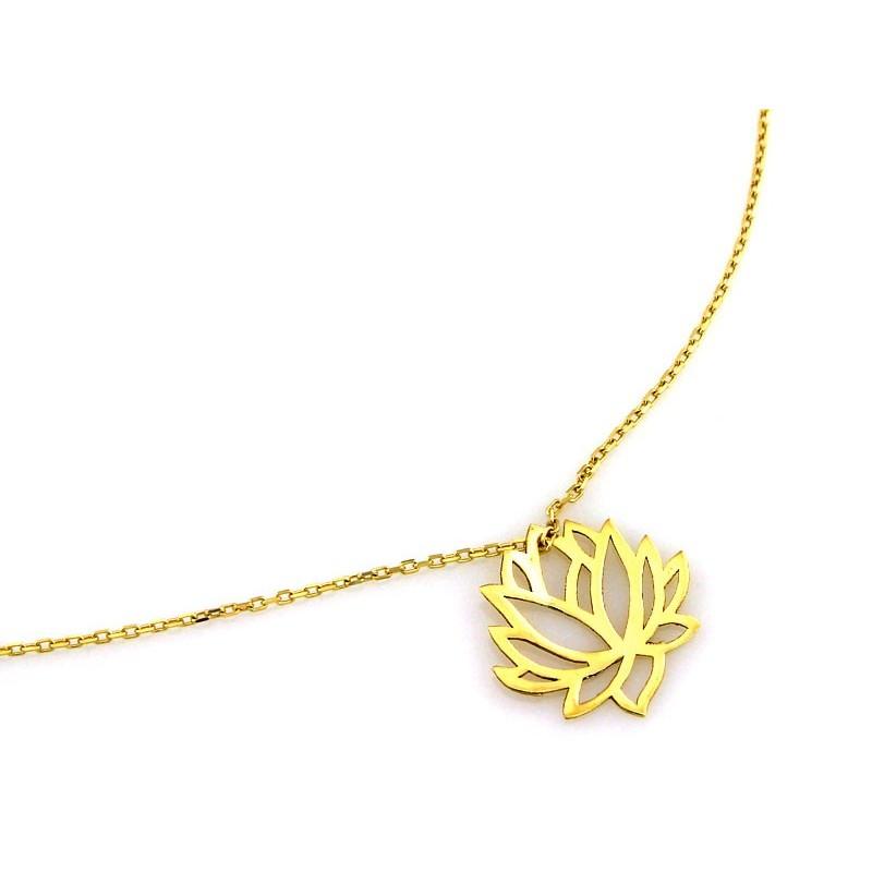 1542b9332bb159 Złoty naszyjnik celebrytka Kwiat Lotosu - KOLIS Pracownia Jubilerska