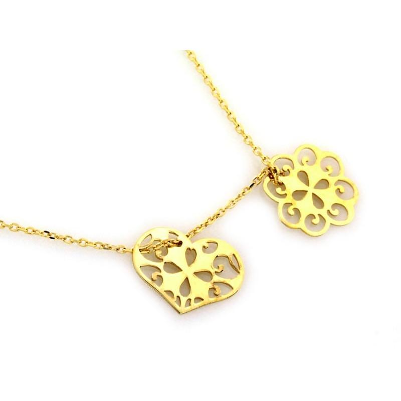 e4357f03af9c62 Złoty naszyjnik celebrytka ażurowy kwiatek i serce - KOLIS Pracownia ...